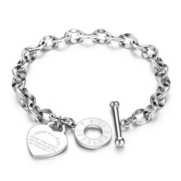 Toggle Clasp Stainless Steel Heart Charm Bracelet