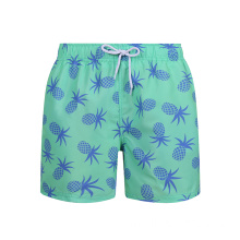 Pattern 100%Polyester Swimming Trunks Green Board Shorts