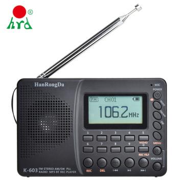 HRD-603 Portable Radio Pocket AM/FM/SW/BT/TF Pocket Radio USB MP3 Digital Recorder Support TF Card Bluetooth Gift for the aged