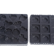 PET plastic black chocolate packaging tray inserts