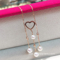 Gold Heart Pendant Jewelry Tassel Pearl Wedding Necklaces
