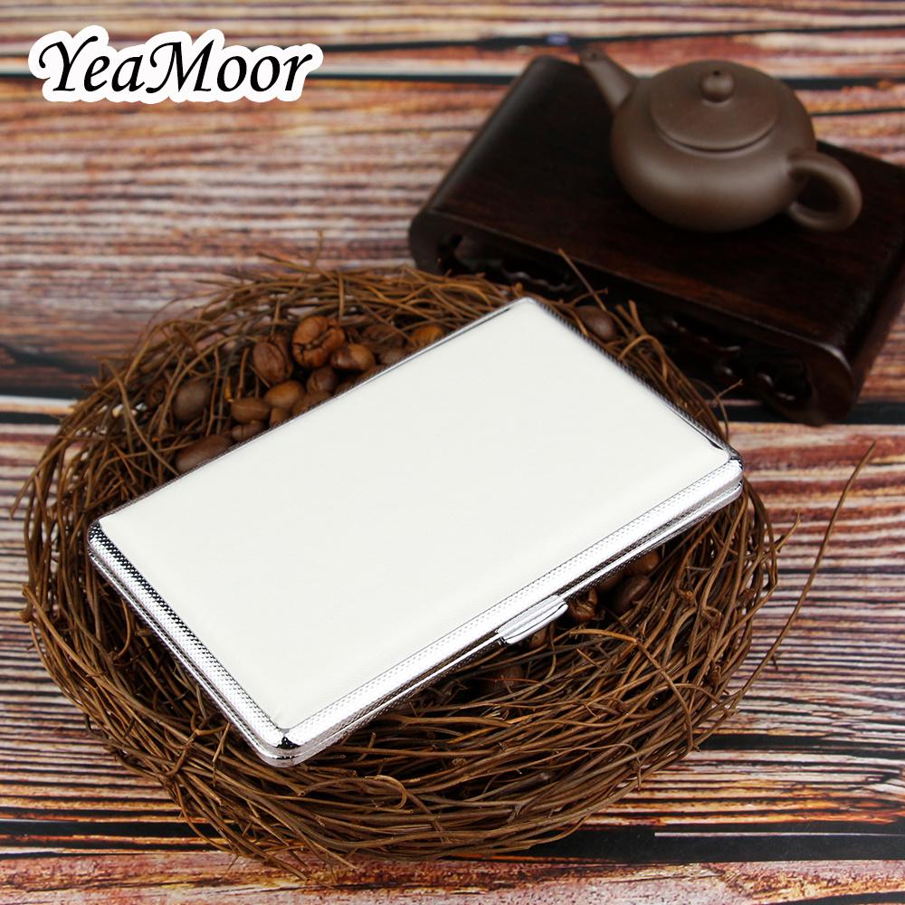 Classic Leather Cigarette Case 10cm Long Cigarette Box Open-Close Smoking Pouch for 14 Cigarettes Black Cigarette Pouch