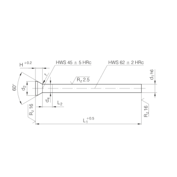DIN9861 Conical Head Punch HSS WS HWS Material