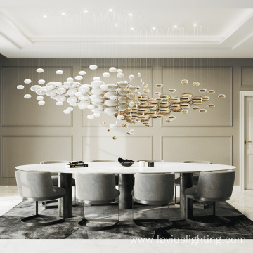 Hanging office oval glass led chandelier pendant light