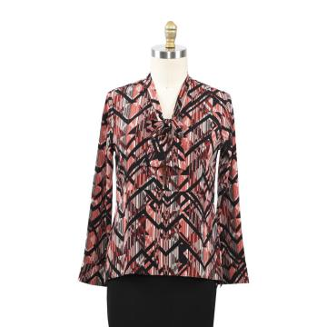 Ladies Bubble Chiffon Allover Printed Bowknot Shirt