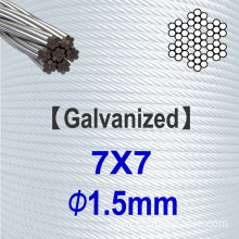 7x7 Dia.1.5mm Galvanized Steel Wire Rope