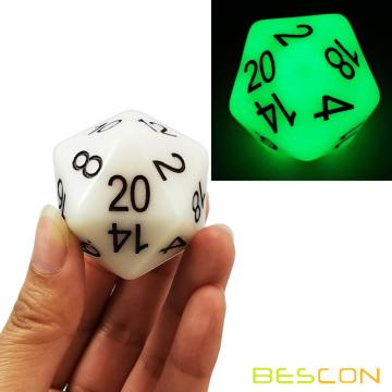 Bescon Jumbo Glowing D20 38MM, Big Size 20 Sides Dice Jade Glow In Dark, Big 20 Faces Cube 1.5 inch