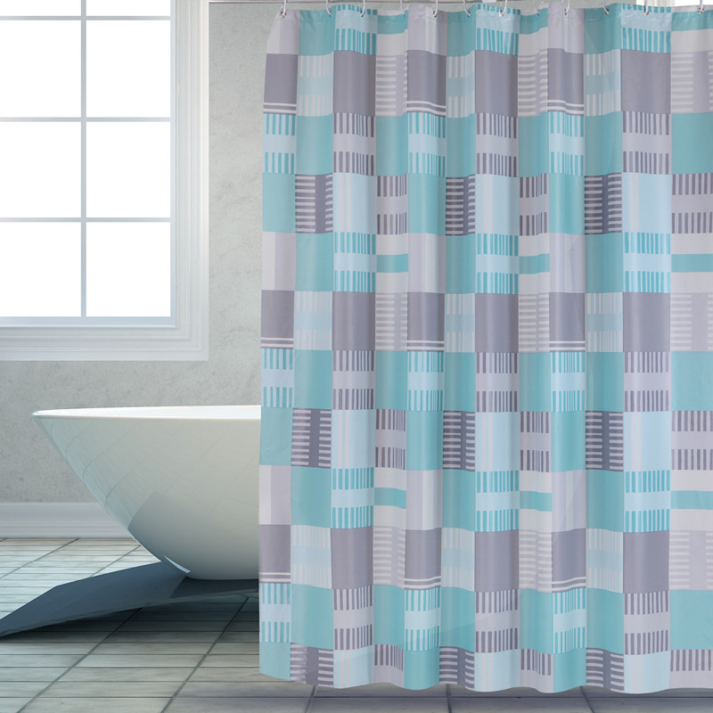 Shower Curtain PEVA Blue Square