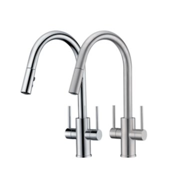 two handle pull-down kitchen faucet