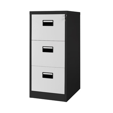 Black White 3 Drawer File Cabinet