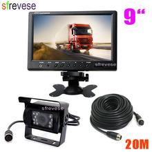 """9"""" TFT LCD Rear View Monitor + Waterproof 4Pin 18 LED Reversing Parking Backup Camera Kit Free 20M cable for Bus Truck Motorhome"""