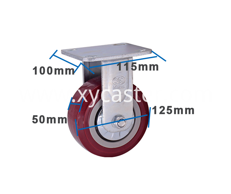 Red 5 Inch Pvc Fixed Caster
