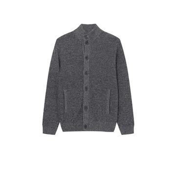 Men's Knitted Stand Collar Textured Buttoned Pocket Cardigan