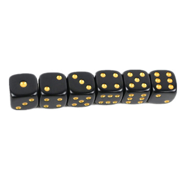 Square Opaque Dice Black with Gold Pip