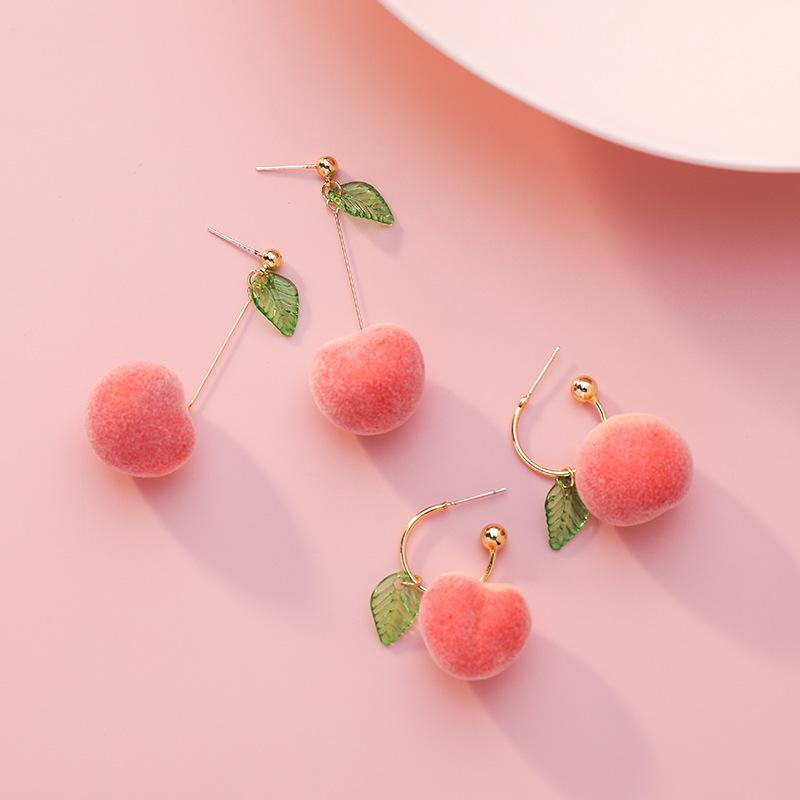 Japan South Korea Harajuku Style Cute Simulation Peach Women Earrings Fashion Small Fresh Pink Fruit Party Wedding Jewelry Gift