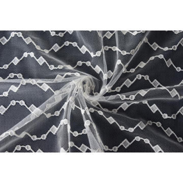Nylon Polyester Wave Pattern Lace Fabric