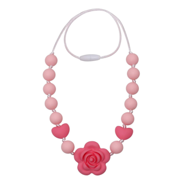 BPA Free Silicone Chewable Rose Beads Necklace