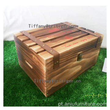 Red wine gift box solid pine wooden wine box