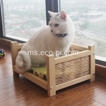 Wicker Wooden Basket Pet Bed untuk Kucing