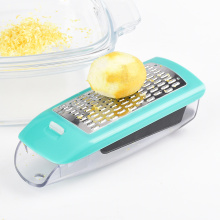 Stainless steel multi-purpose cheese grater with container