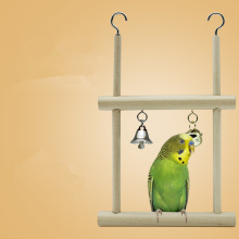 Double Grid Pet Bird Parrot Toys Wooden Stand Ladders Climber Bird Playground Toy Swing Bird Cage Hanging Chew Toys for Birds