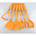 7 pcs orange handle nylon utensils
