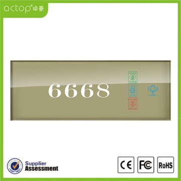 Smart Hotel Tempered Glass Electrical Number Doorplate