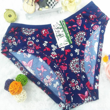 China wholesale new style printed floral dark purple sexy briefs bamboo fiber hipster 510