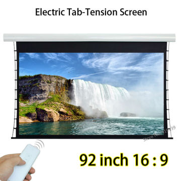 Flat Surface Tab Tension HD Projection Screen 92inch 2037x1145mm Viewable With 12V Trigger For Office Education