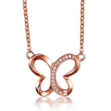 Butterfly Charm Necklace Rose Gold