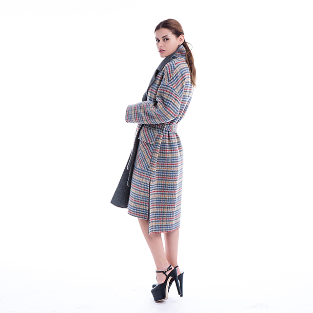 Plaid belt cashmere coat