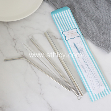 Customized Size Silver Reusable 304 Stainless Steel Straw