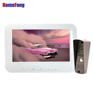 Homefong 7 Inch Wired Video Intercom Doorbell With Camera White Unlock Door Phone Intercom System Day Night Vision IP65
