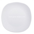 Diagonal 10.5-Inch ,26.5-Cm White Porcelain Rounded Square Plates