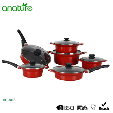 12 Pieces Red Die-Cast Aluminum Cookware Sets