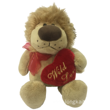 Plush Lion With Heart Valentine