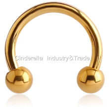 Gold PVD Coated Surgical Steel Circular Barbell