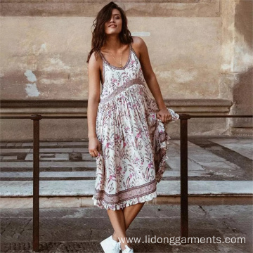 Floral Midi Spaghetti Strap Sling Dress Summer