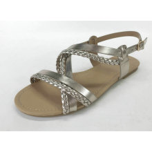 Ladies fashion sandal with metallic pu