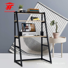 Office Table Desk With Metal Frame And Shelves