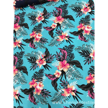 Flower And Leaves Desgin Cotton Stretch Printed Fabric