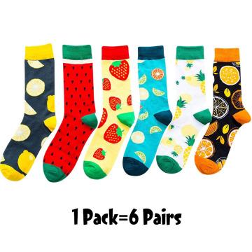 6/5 pairs/pack Korean Fresh Fruits Socks Lemon Pineapple Orange Watermelon Strawberry Fish Jellyfish swim ring Ship anchor socks
