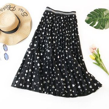 Ladies Bubble Sequined Love Pattern Pleated Skirt