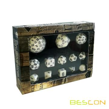 Bescon Complete Polyhedral Dice Set 13pcs D3-D100, 100 Sides Dice Set Opaque White