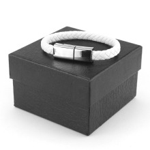 White Leather Bracelet USB Charger Cable For Android