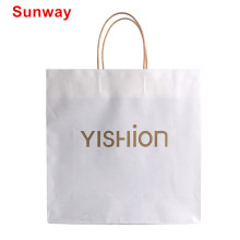 Durable white kraft paper shopping bags