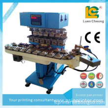 6-colors open ink well pad printing machine with flame treatment for bottle caps