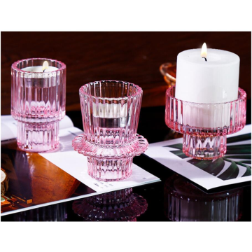 New arrival ribbed shaped pink color small glass candle holder