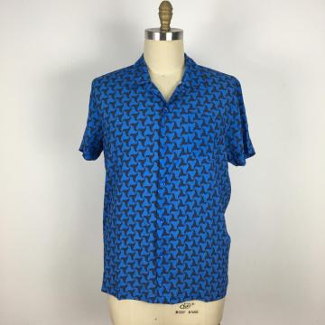 Casual Loose Fit triangle pattern BLUE Shirt