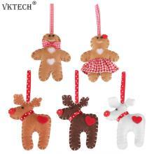 Deer Gingerbread Man Doll Pendants Felt Hanging Ornament Window Christmas Tree Decoration Supplies Children Gifts
